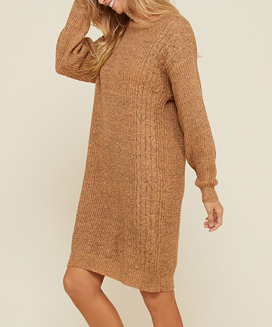 4866bbe104 ... Womens CAMEL Camel Cable-Knit Sweater Dress - Alternate Image 2 ...