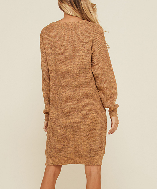 f7a301709d love this product Camel Cable-Knit Sweater Dress