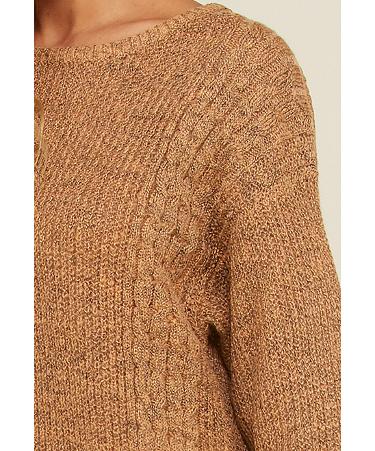 2943bb6165 ... Womens CAMEL Camel Cable-Knit Sweater Dress - Alternate Image 4 ...