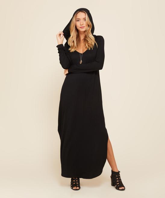 Annabelle Usa Black Side Slit Curve Hem Hooded Maxi Dress Women