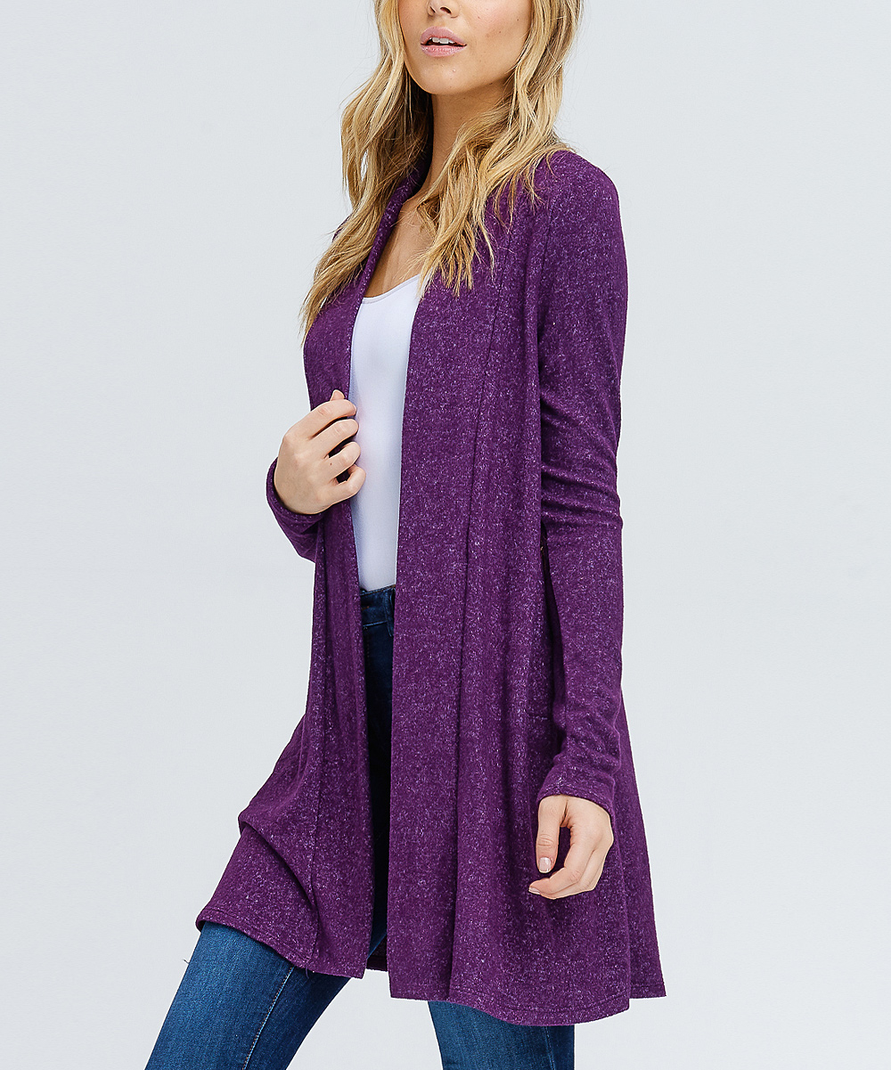 437675c2ab ... Womens Purple Purple Elbow Patch Open Cardigan - Alternate Image 2 ...