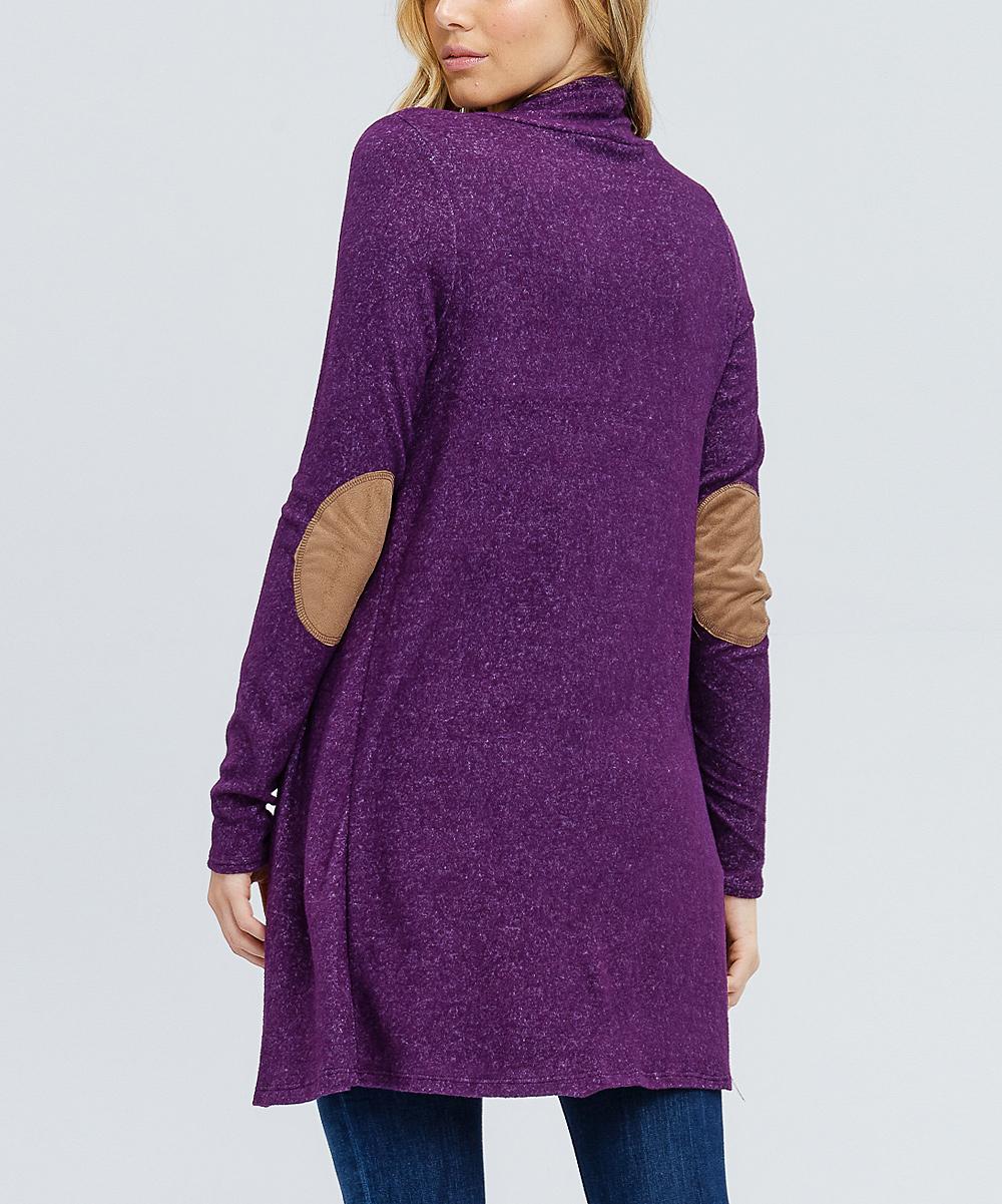 273915494b ... Womens Purple Purple Elbow Patch Open Cardigan - Alternate Image 3 ...