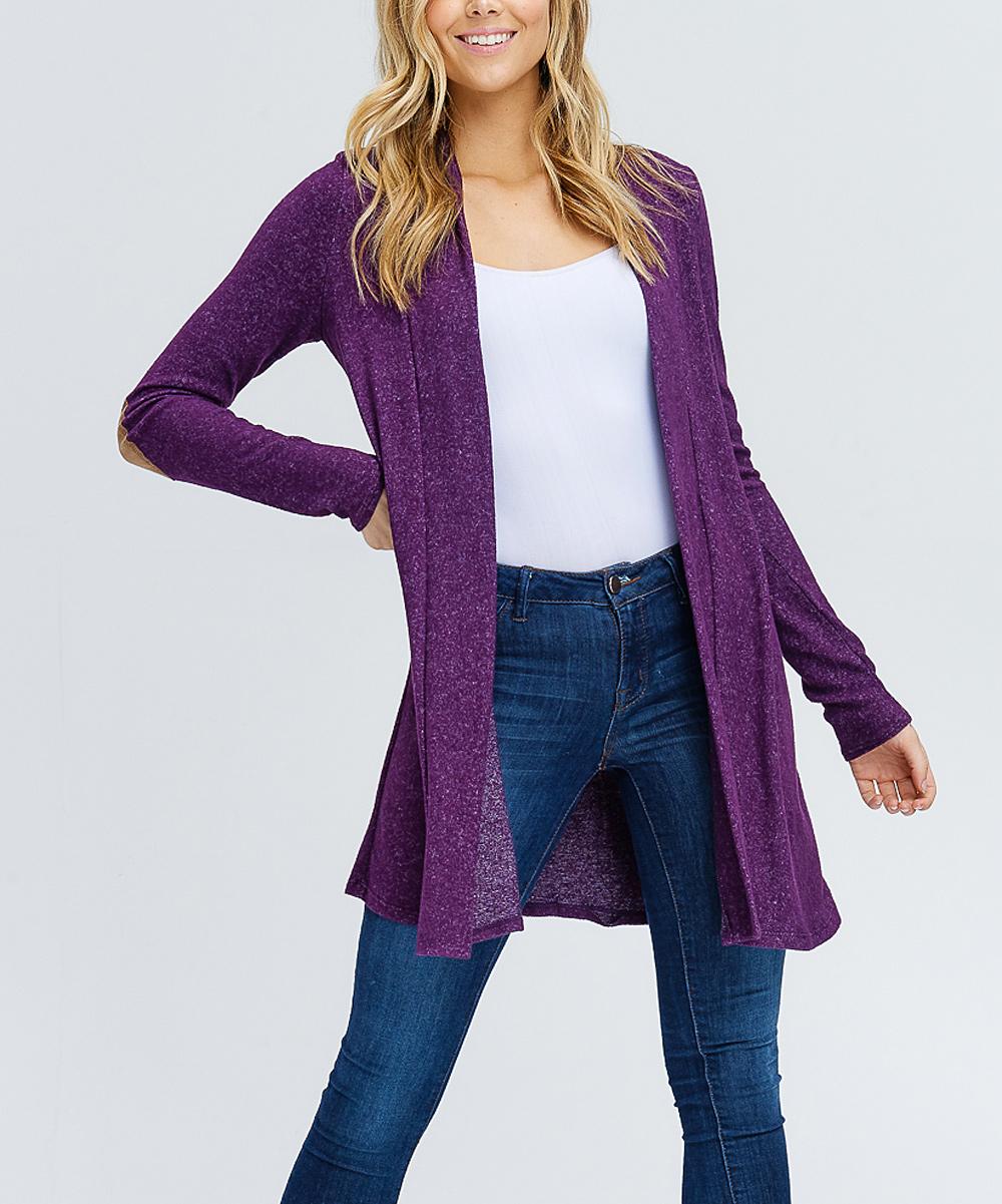 ddefa6aee9 ... Womens Purple Purple Elbow Patch Open Cardigan - Alternate Image 4 ...