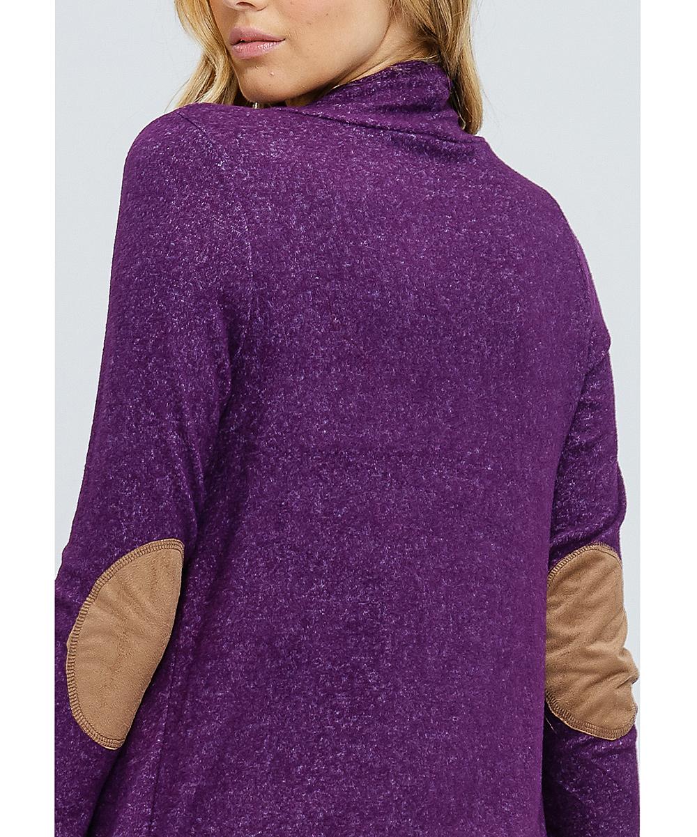 19a0d6561b ... Womens Purple Purple Elbow Patch Open Cardigan - Alternate Image 5