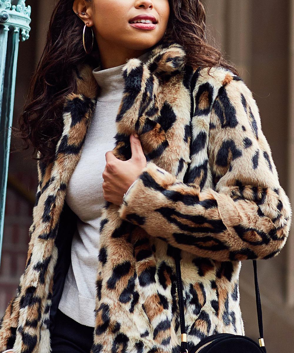 22fe78312f35 Jessica Simpson Collection Leopard Faux-Fur Coat - Women | Zulily