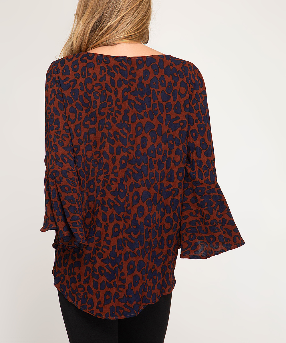 920abdde31e0 ... Womens BRICK Brick & Navy Leopard Print Bell-Sleeve Top - Alternate  Image 2