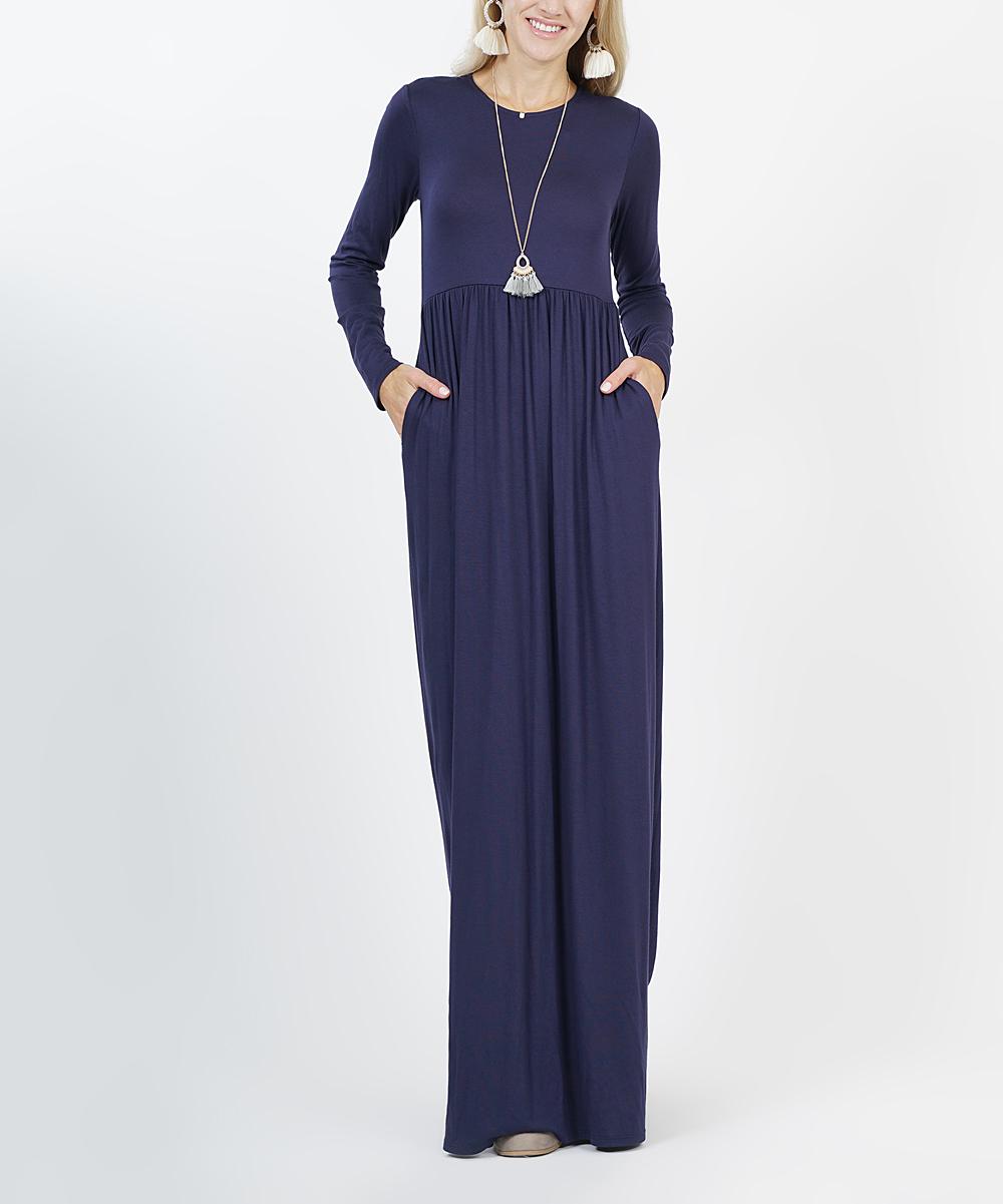 Navy Long-Sleeve Empire-Waist Maxi Dress - Women  f2eb703ffd