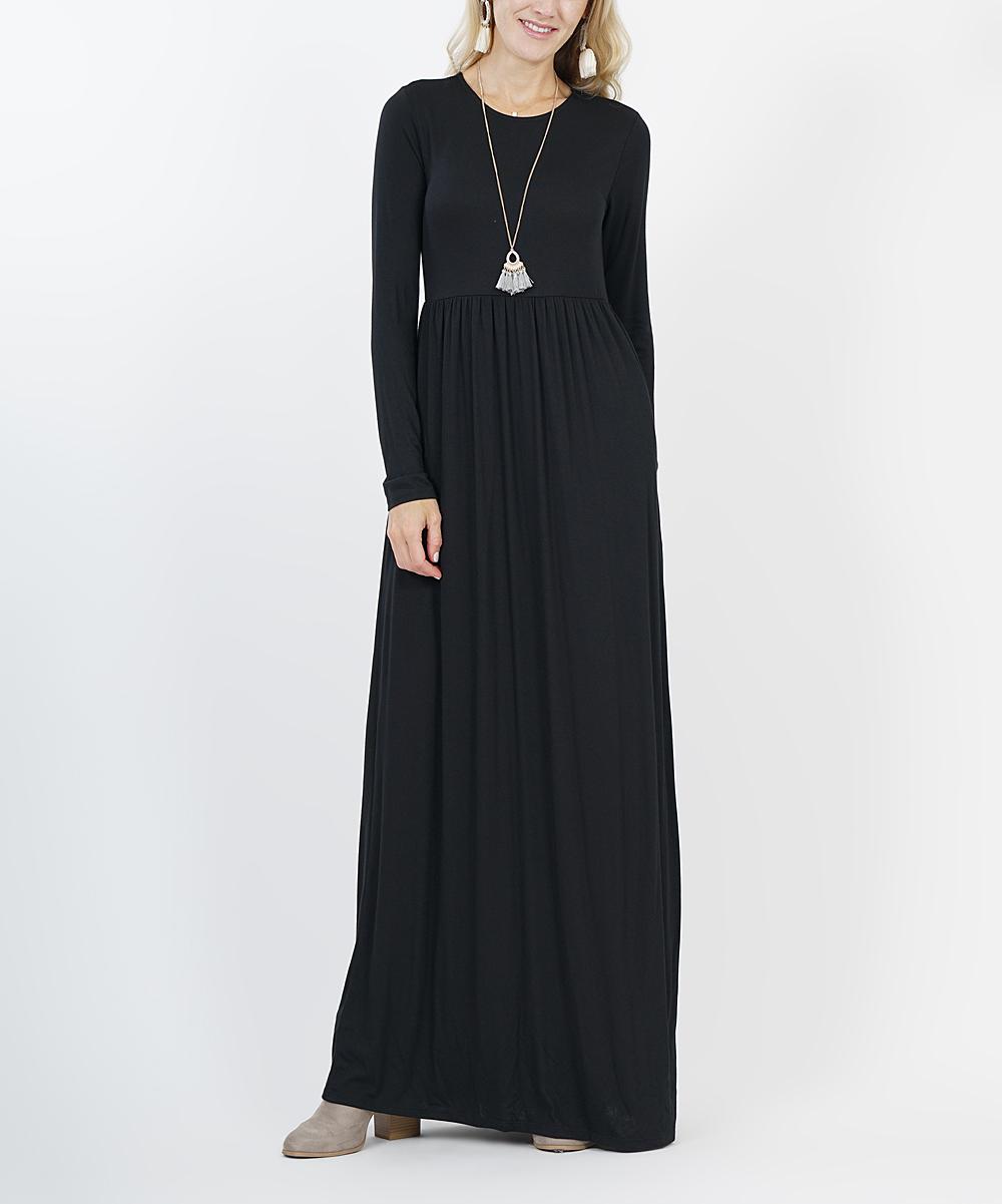 1aae6d28abe Black Long-Sleeve Empire-Waist Maxi Dress - Women