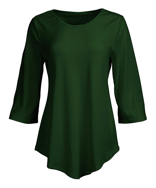 Forest Green Curved-Hem Tunic - Women & Plus