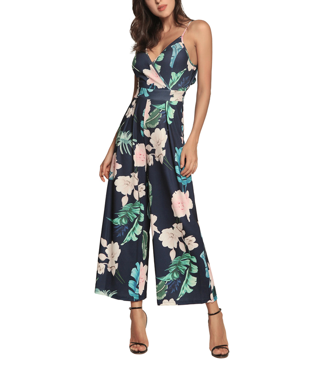 cf9f5542b88 love this product Blue Floral V-Neck Jumpsuit - Women