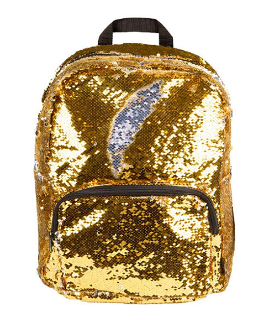 Gold & Silver Magic Sequin 16.5'' Backpack Gold & Silver Magic Sequin 16.5'' Backpack. Sparkling and covered in color-changing sequins, this glamorous backpack totes your studious little one's gear in showstopping style.12.25'' W x 16.5'' H x 7'' DSequinsPadded shoulder strapsInterior: laptop sleeveExterior: zip pocketImported