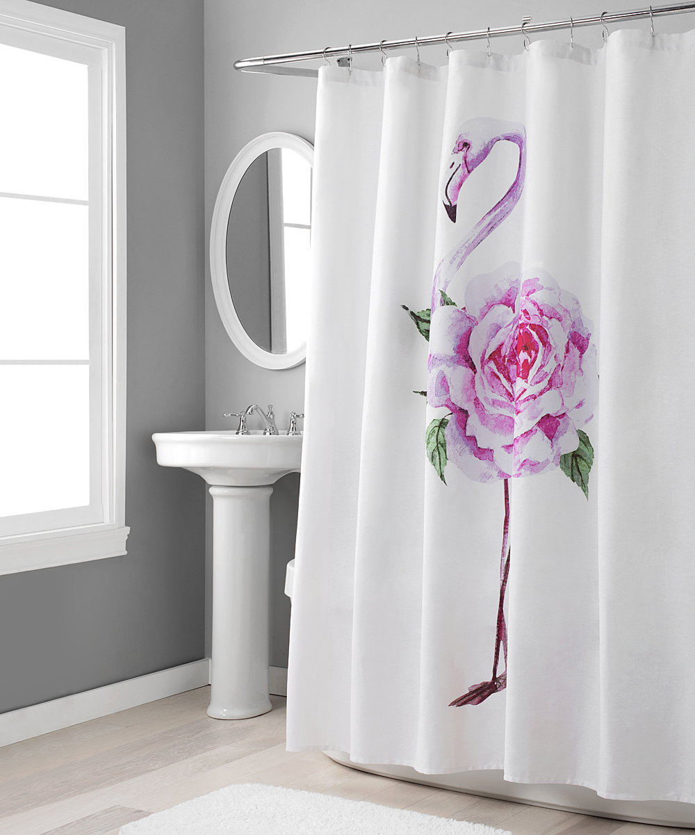 Nicole Miller Pink Rose Shower Curtain