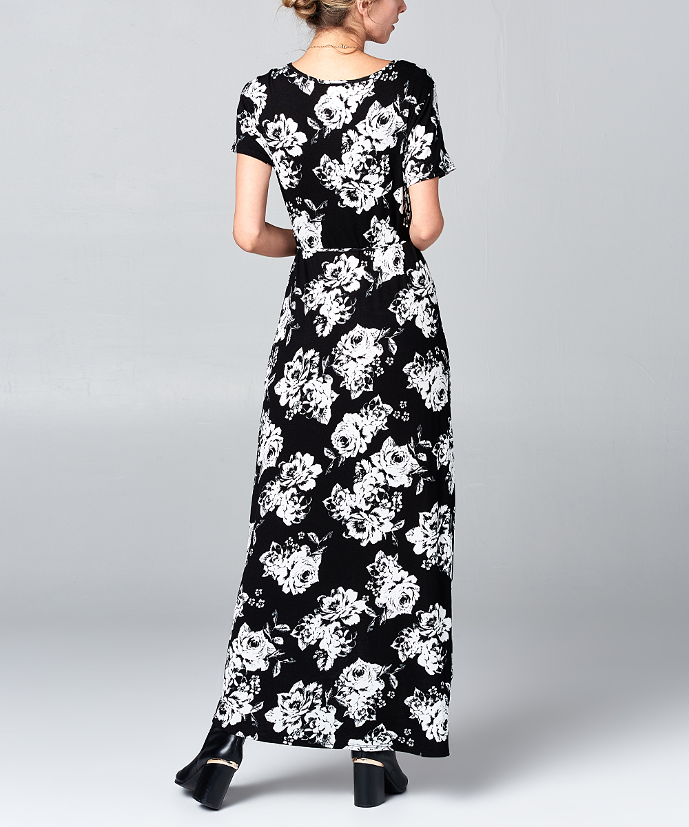 71247a60b0 love this product Black   White Floral Wrap Maxi Dress - Women