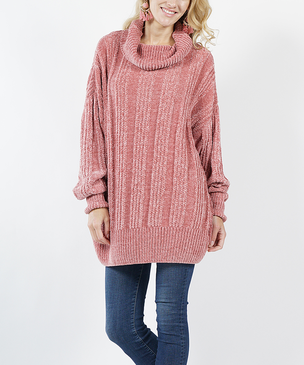 cf3dd2b981 love this product Ash Rose Oversize Cable-Knit Velvet Yarn Turtleneck  Sweater - Women