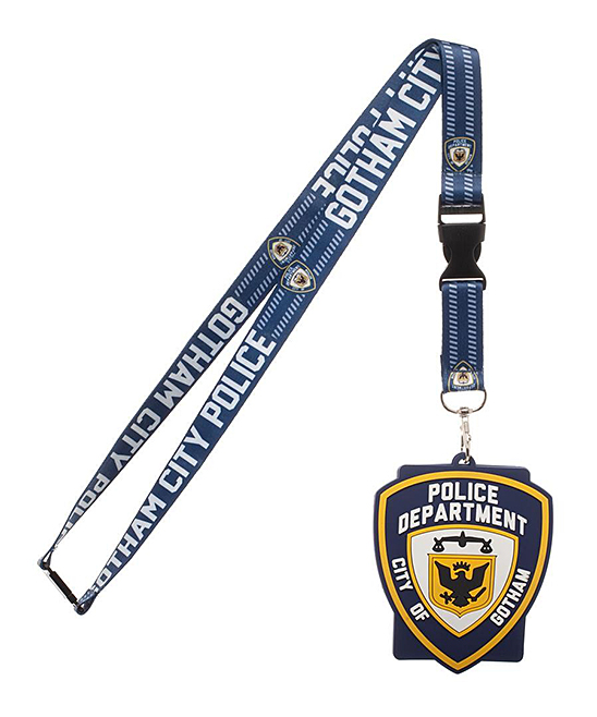 Batman Blue 'Gotham City Police' Badge Lanyard Batman Blue 'Gotham City Police' Badge Lanyard. Keep your ID close with this lanyard that pledges your loyalty to Gotham with its oversize badge.Full graphic text: Gotham city, police department city of GothamRubberWipe cleanImported