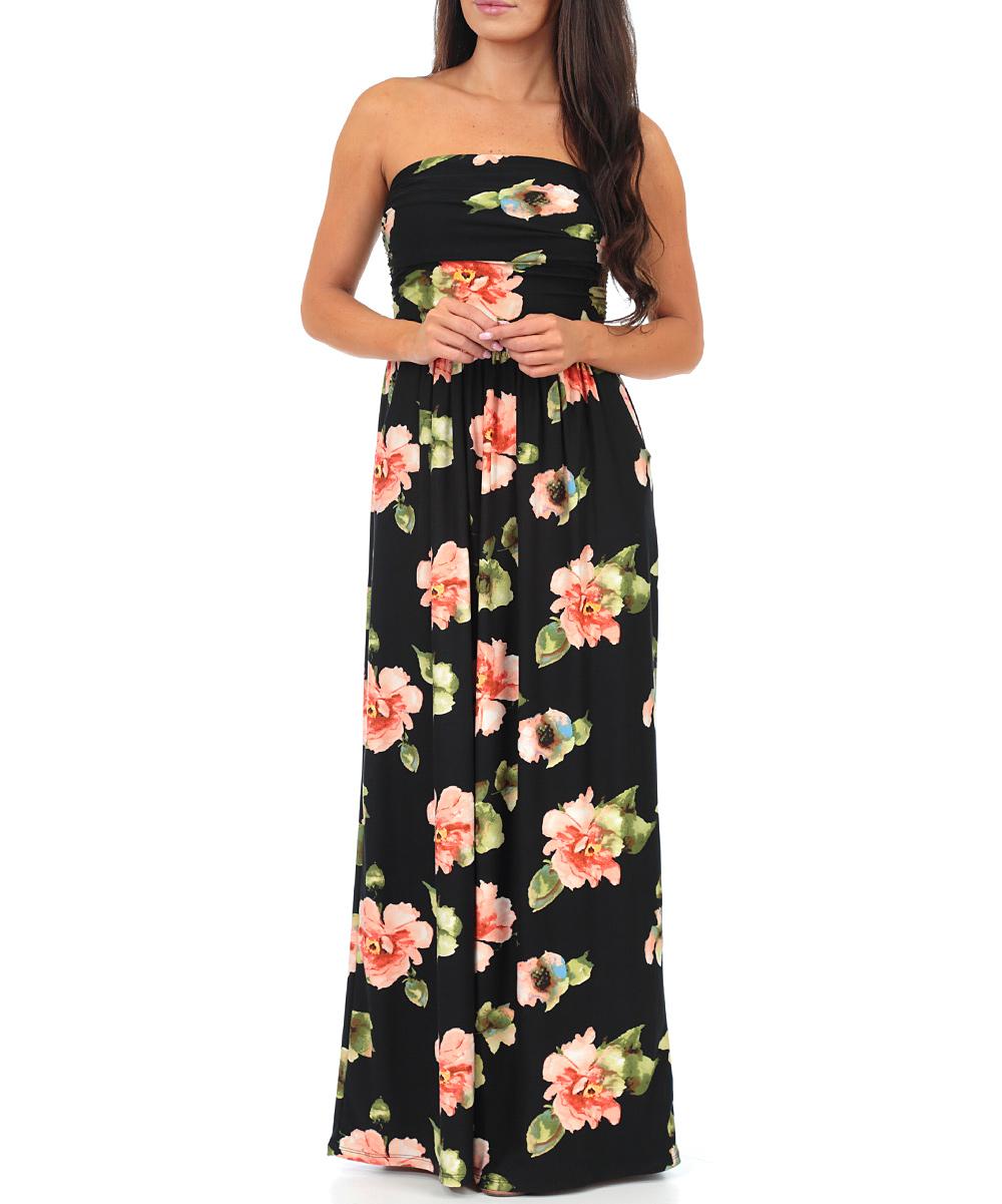 86f83de6de2 California Trading Group Black Floral Strapless Maxi Dress - Women
