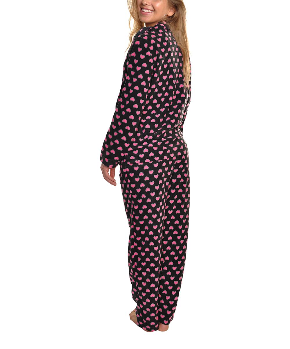 7e4470a8b72a Angelina Black   Pink Heart Fleece Pajama Set - Women