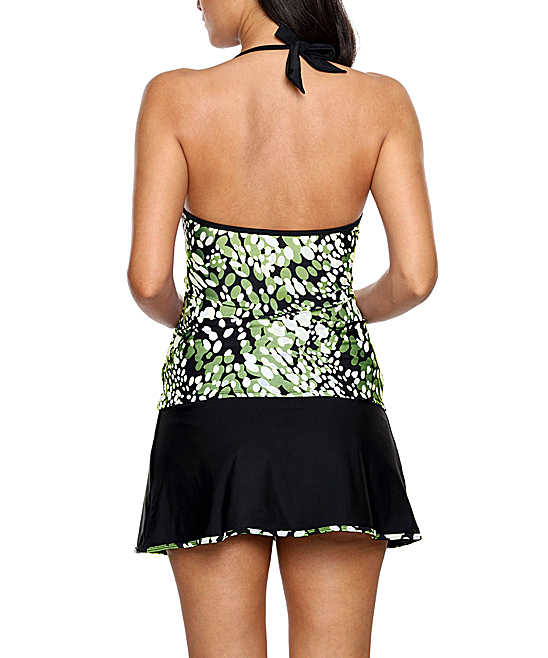 610429648b Zesica Olive & White Dewdrop V-Neck Tankini Top & Wrapped Skirt ...