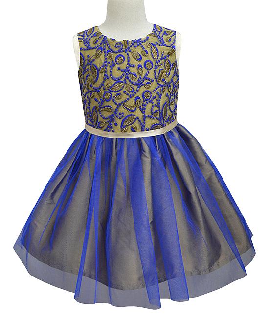 9241938d6455d all gone. Royal Blue & Gold Embroidered Tulle Fit & Flare Dress - Infant,  Toddler & Girls · Girls Garden ...
