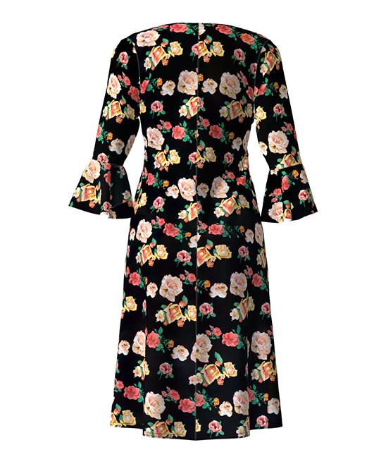 Black Pink Yellow Floral Bell Sleeve Empire Waist Dress Zulily