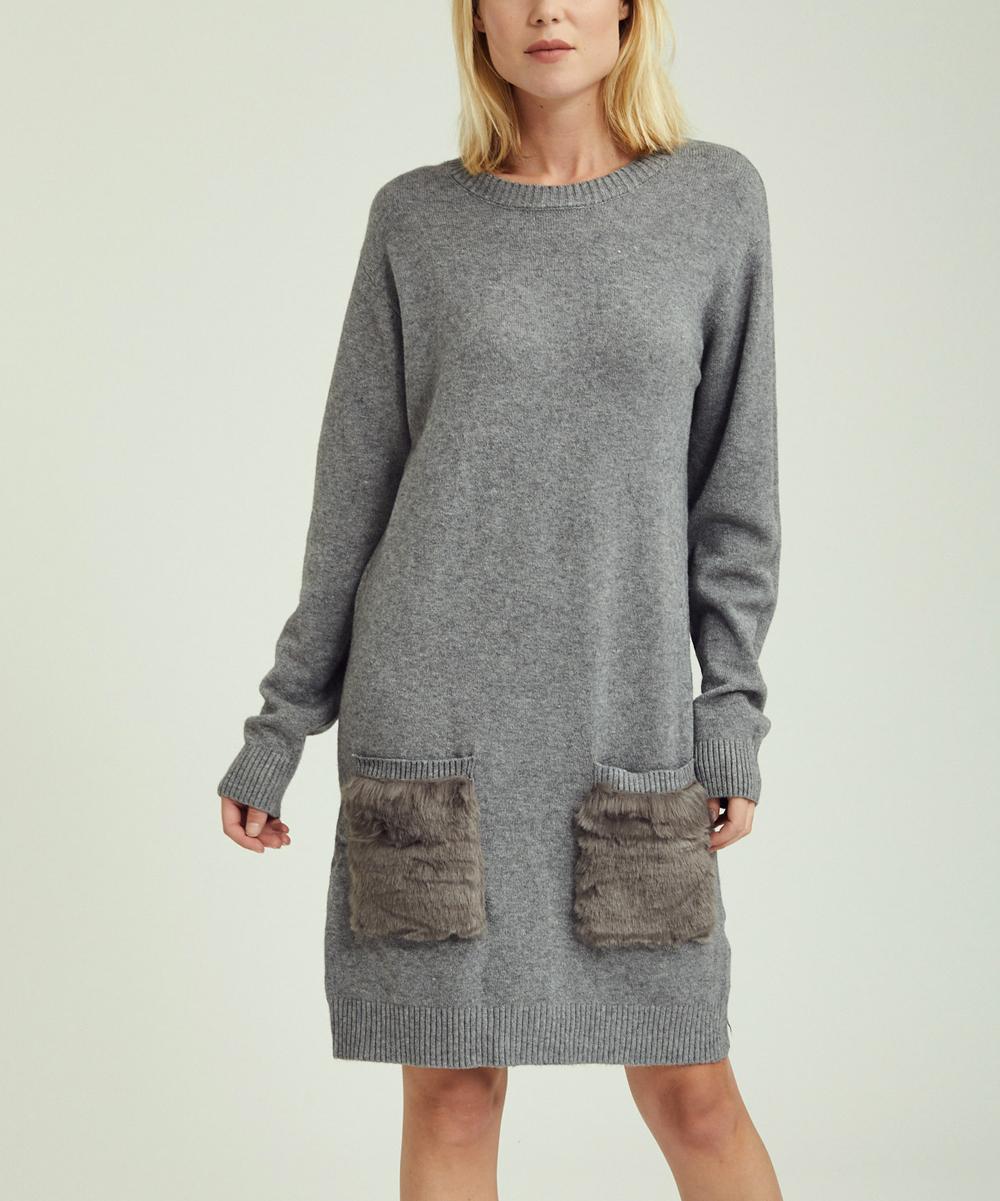 60bad1e6aa94 KeepKool Gray Faux Fur Pocket-Accent Sweater Dress