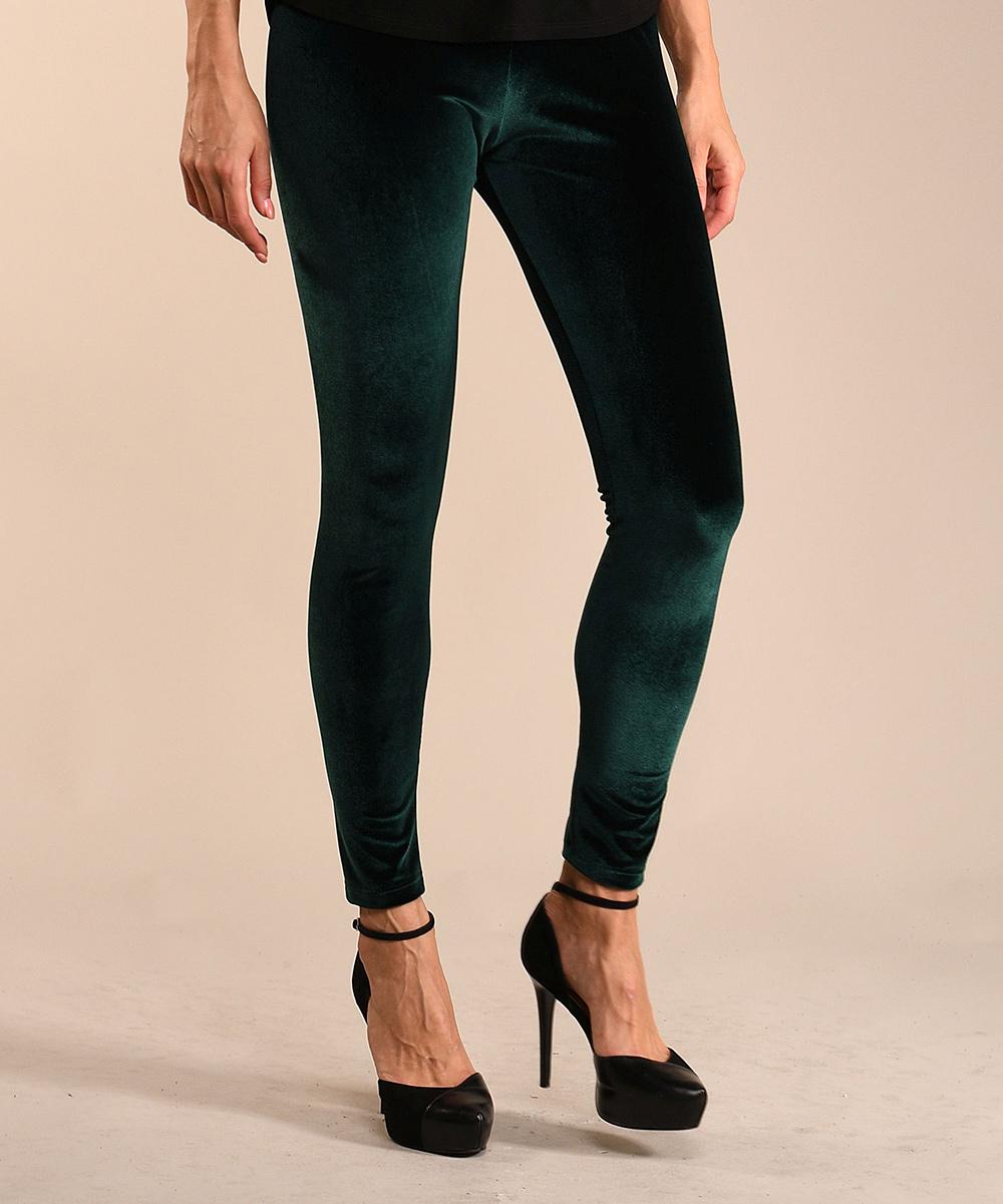 b721c1879d32d ... Womens Green Green Velvet Leggings - Alternate Image 2 ...