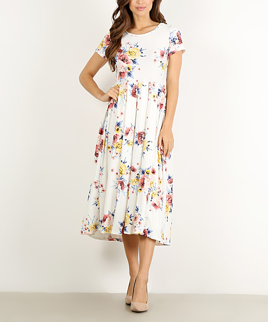 Pretty Young Thing White Floral Midi Dress - Women  3f0392d41f