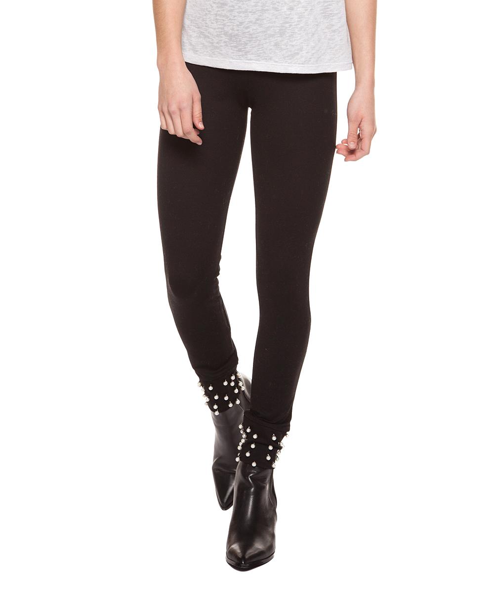 9b0c934dba773 Devoted Black Pearl-Stud Leggings - Women | Zulily
