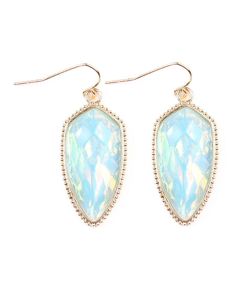 Aqua Iridescent Drop Earrings Aqua Iridescent Drop Earrings. Frame your face with the iridescent shine of these dangling earrings.2'' LBase metal / acrylicImported