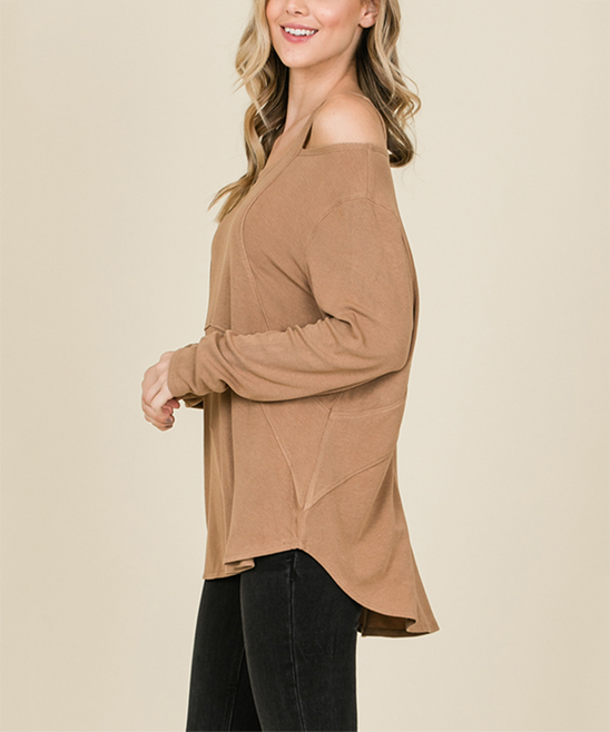 6265f1c2b8e12f Annabelle USA Taupe Cold-Shoulder Top - Women