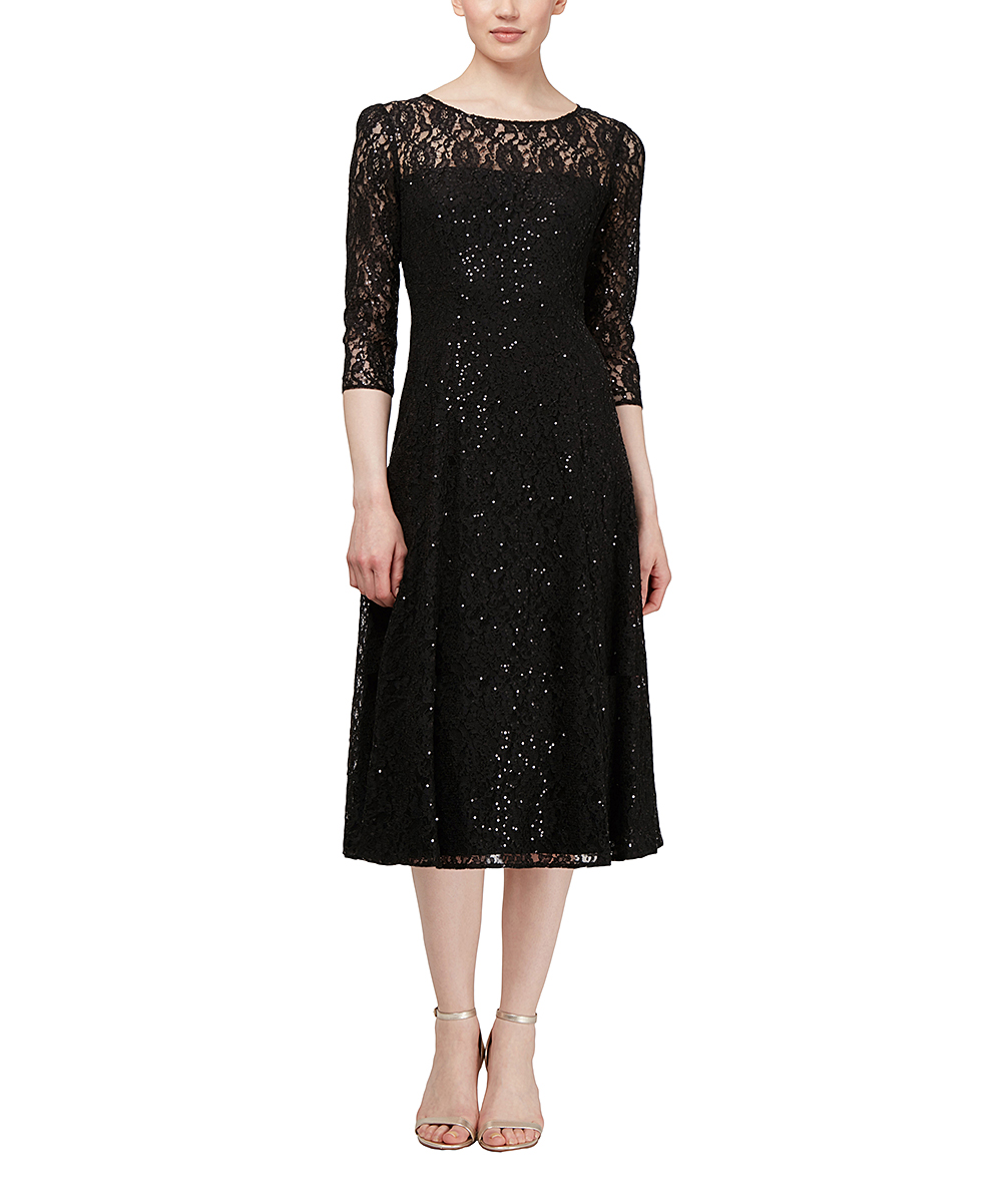 305836b0 SLNY Black Lace-Overlay Sequin Fit & Flare Dress - Women | Zulily