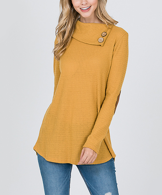 I Ivy Mustard Elbow Patch Sweater Women Zulily