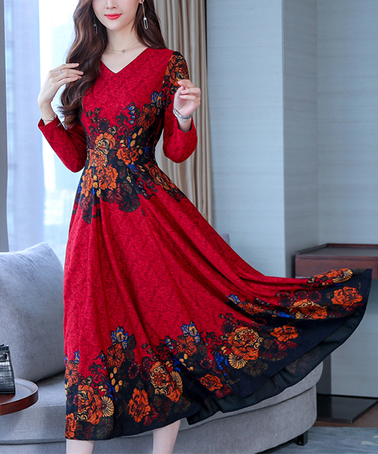 9aed70ece28 Vicky and Lucas Red Floral Long-Sleeve Fit & Flare Midi Dress ...