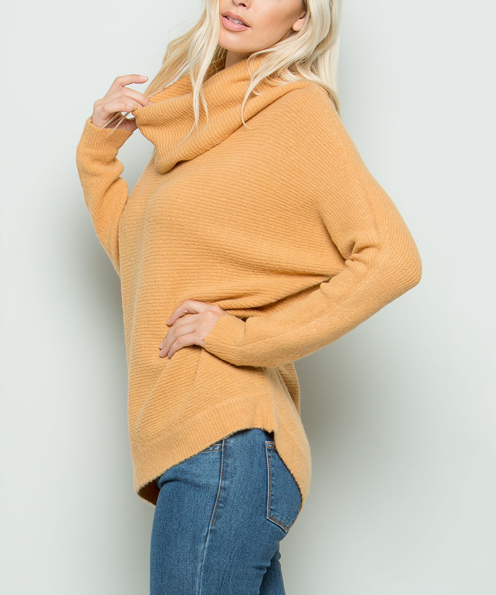 5a4497931d7 ... Womens CAMEL Camel Cowl Neck Sweater - Alternate Image 3 ...