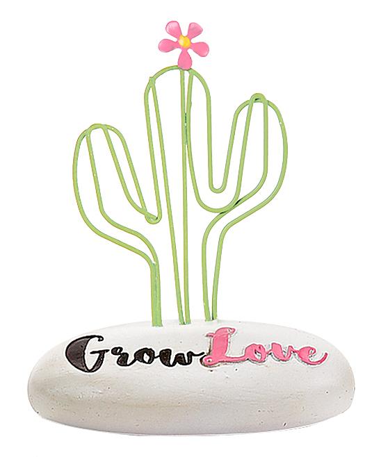 Cactus 'Grow Love' Stone Decor