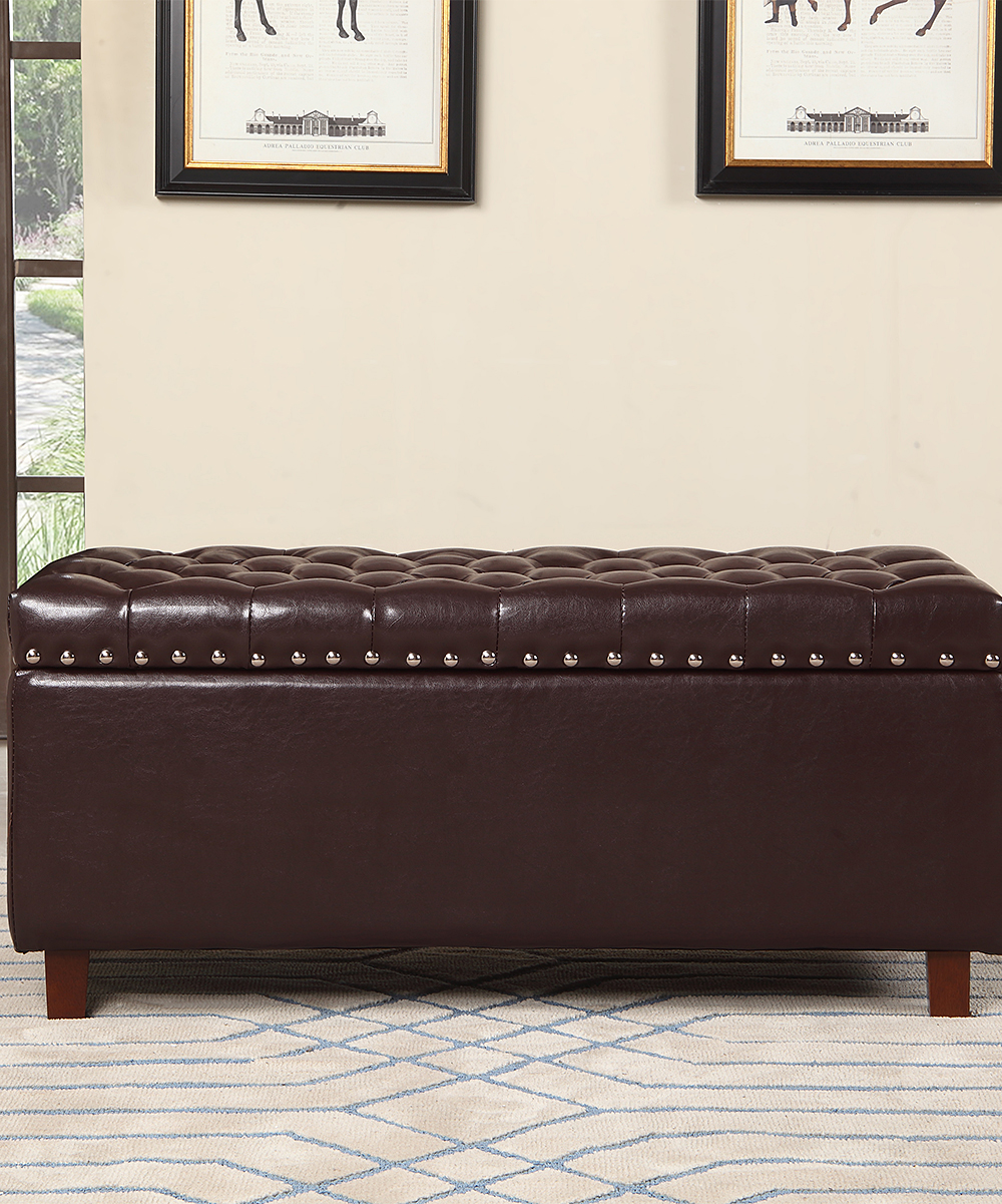 Nathaniel Home Brown Leather Storage Ottoman