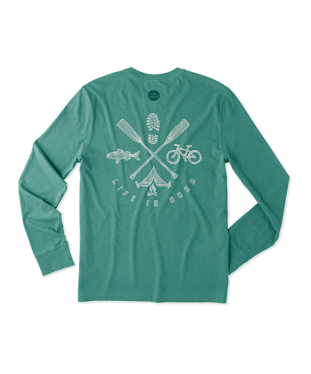 1c2d2ce885c4 ... Womens HEATHER FOREST GREEN Heather Forest Green 'Life Is Good' Outdoor  Action Long- ...