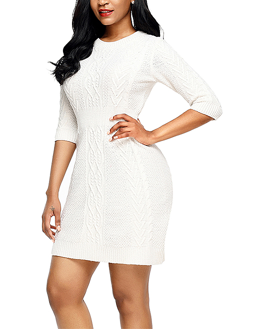 117b4bdb7b0 ... Womens White White Cable Knit Fitted 3 4 Sleeve Sweater Dress -  Alternate Image 4