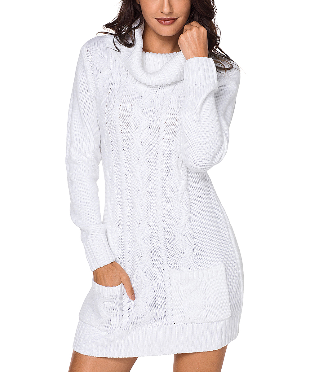 9692ccd6b54 love this product White Cowl Neck Cable Knit Sweater Dress