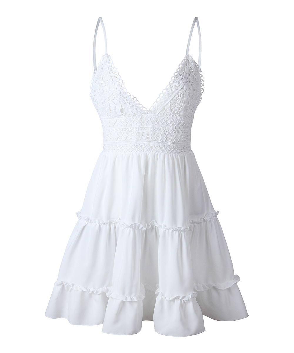 White Dresses - Women White Dresses - Women. Showcasing back cutouts and textured motif, this breezy dress takes your ensemble up a notch.Size S: 30'' long from high point of shoulder to hem90% polyester / 10% spandexMachine wash; hang dryImported