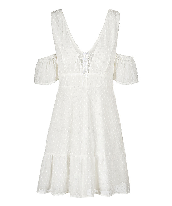 White Dresses - Women & Plus White Dresses - Women & Plus. Stretch out under the sun in this lightweight dress that teases your sun-kissed skin with shoulder cutouts. Size S: 32'' long from high point of shoulder to hem100% polyesterMachine wash; hang dryImported