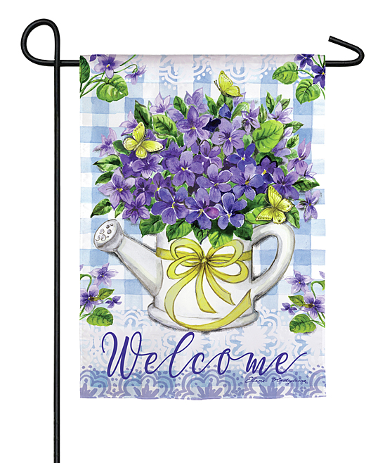 'Welcome' Violet Bouquet Outdoor Flag