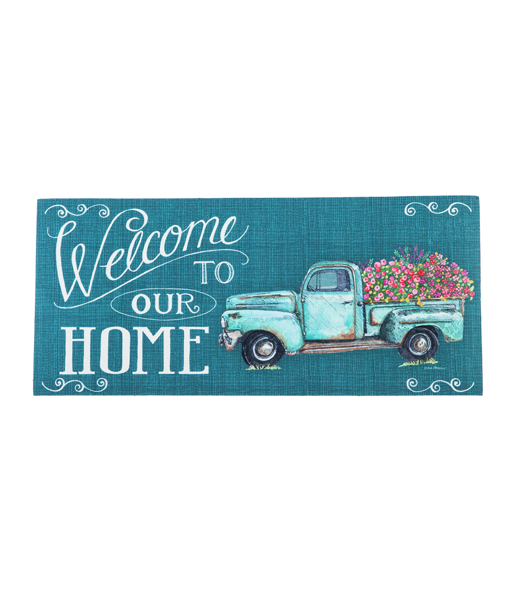 'Welcome To Our Home' Floral Truck Switch Mat