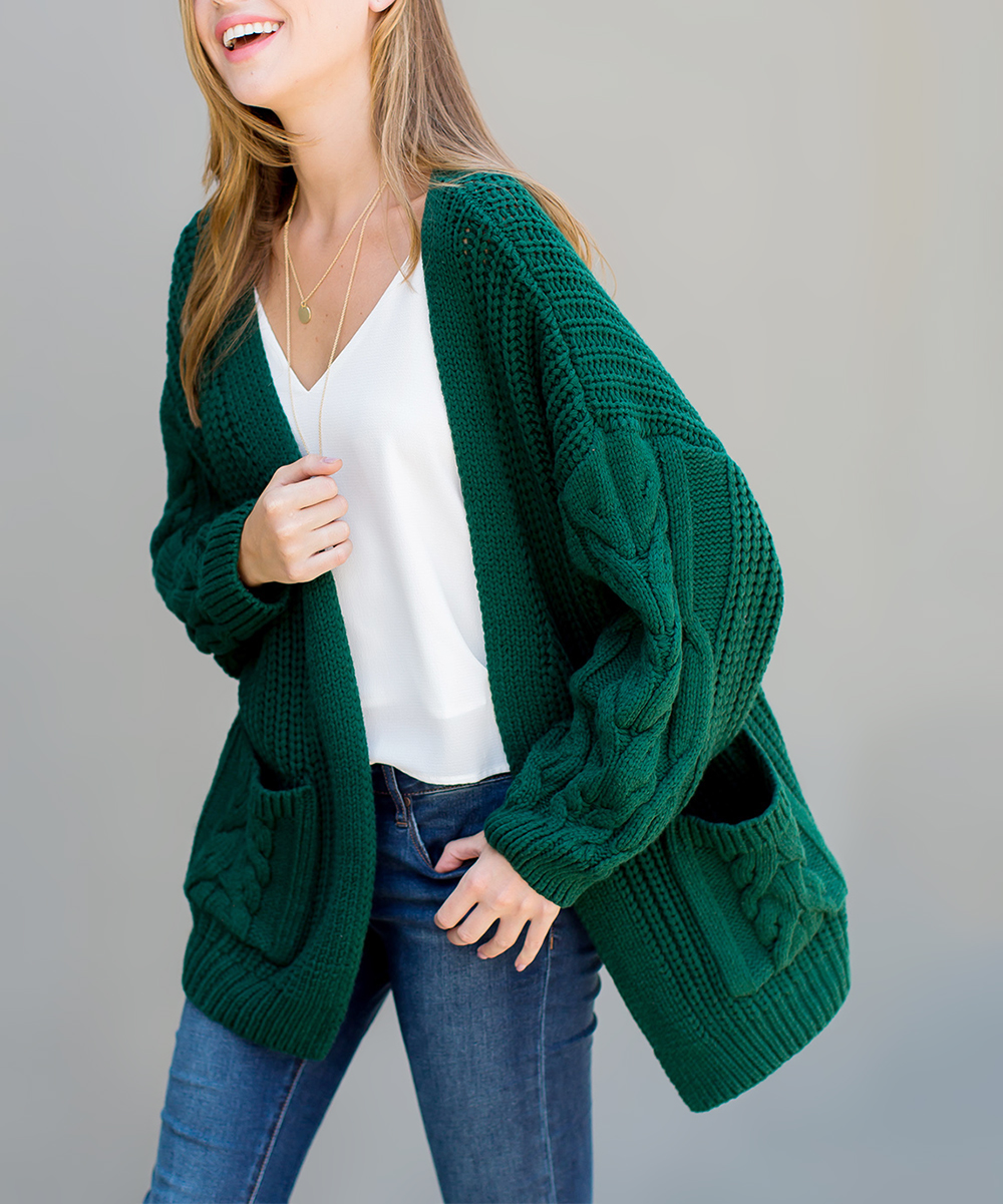 Cherry On Boutique Deep Green Cable Knit Pocket Cardigan Women