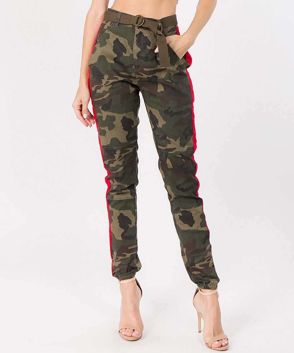 f715ca296a5 American Bazi Olive   Red Camo Side-Stripe Cinched-Bottom Trousers ...