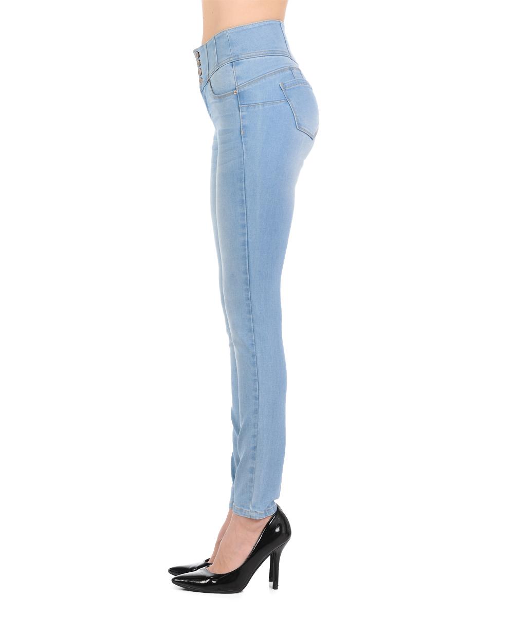 c3b3dd17224a76 ... Womens Light Light Blue Tummy-Control Push-Up High-Waist Skinny Jeans  ...