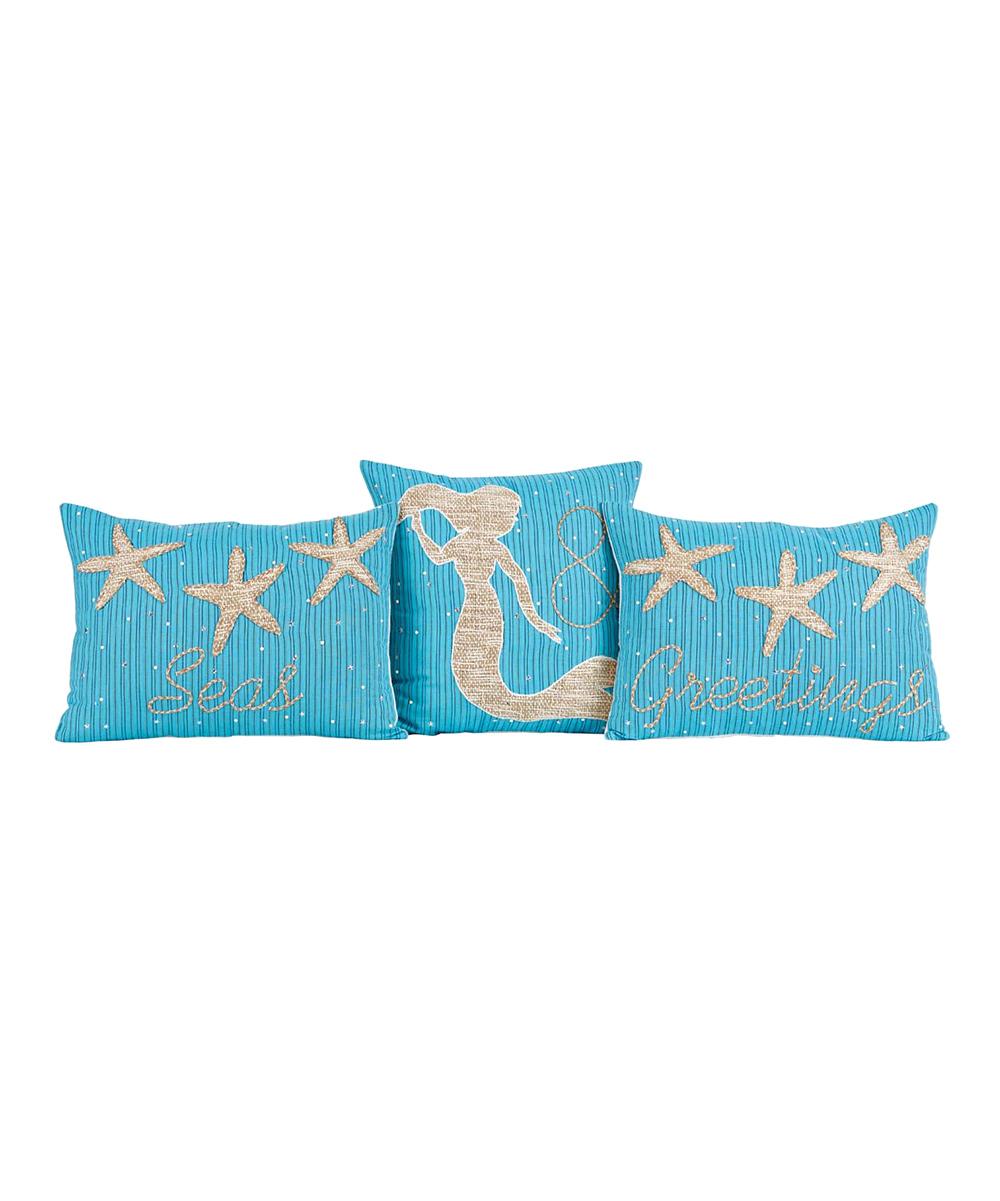 Swell Blue Seas Greetings Three Piece Throw Pillow Set Dailytribune Chair Design For Home Dailytribuneorg