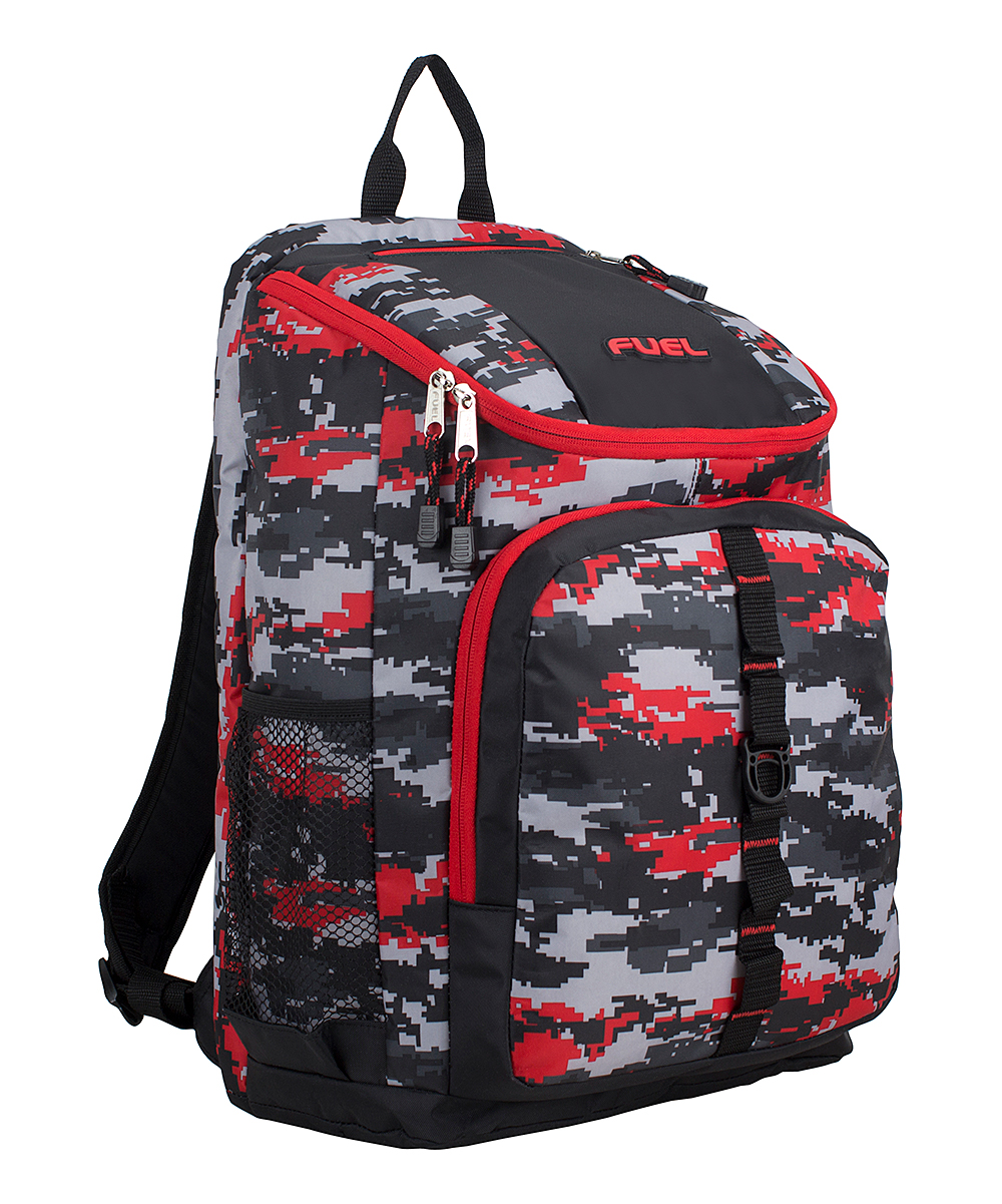 FUEL  Backpacks  - Gray & Red Pixel Wide-Mouth Deluxe Backpack