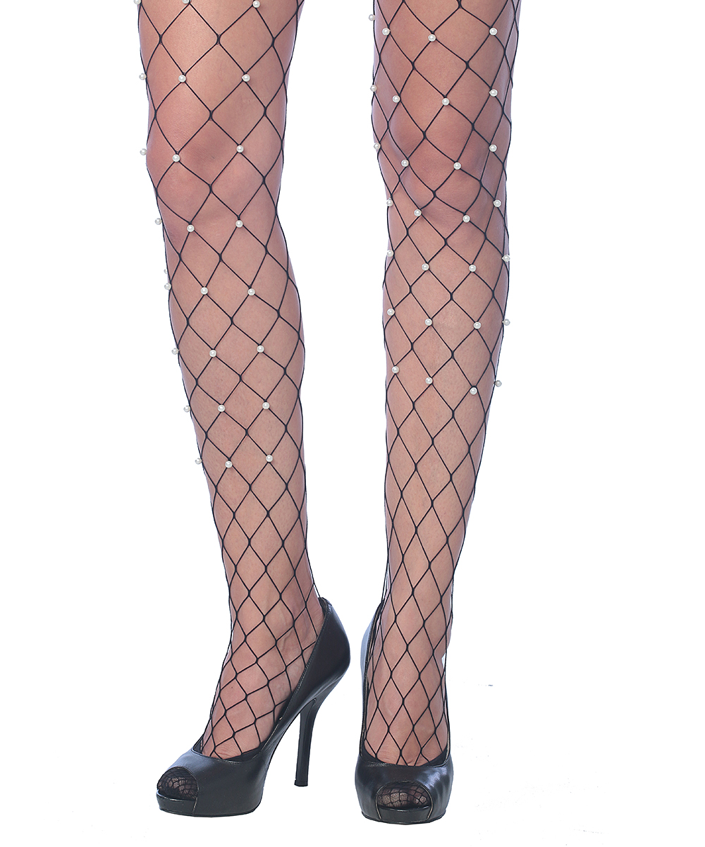 2e612703d2317 Beverly Rock Black Imitation Pearl Wide Fishnet Tights - Women   Zulily