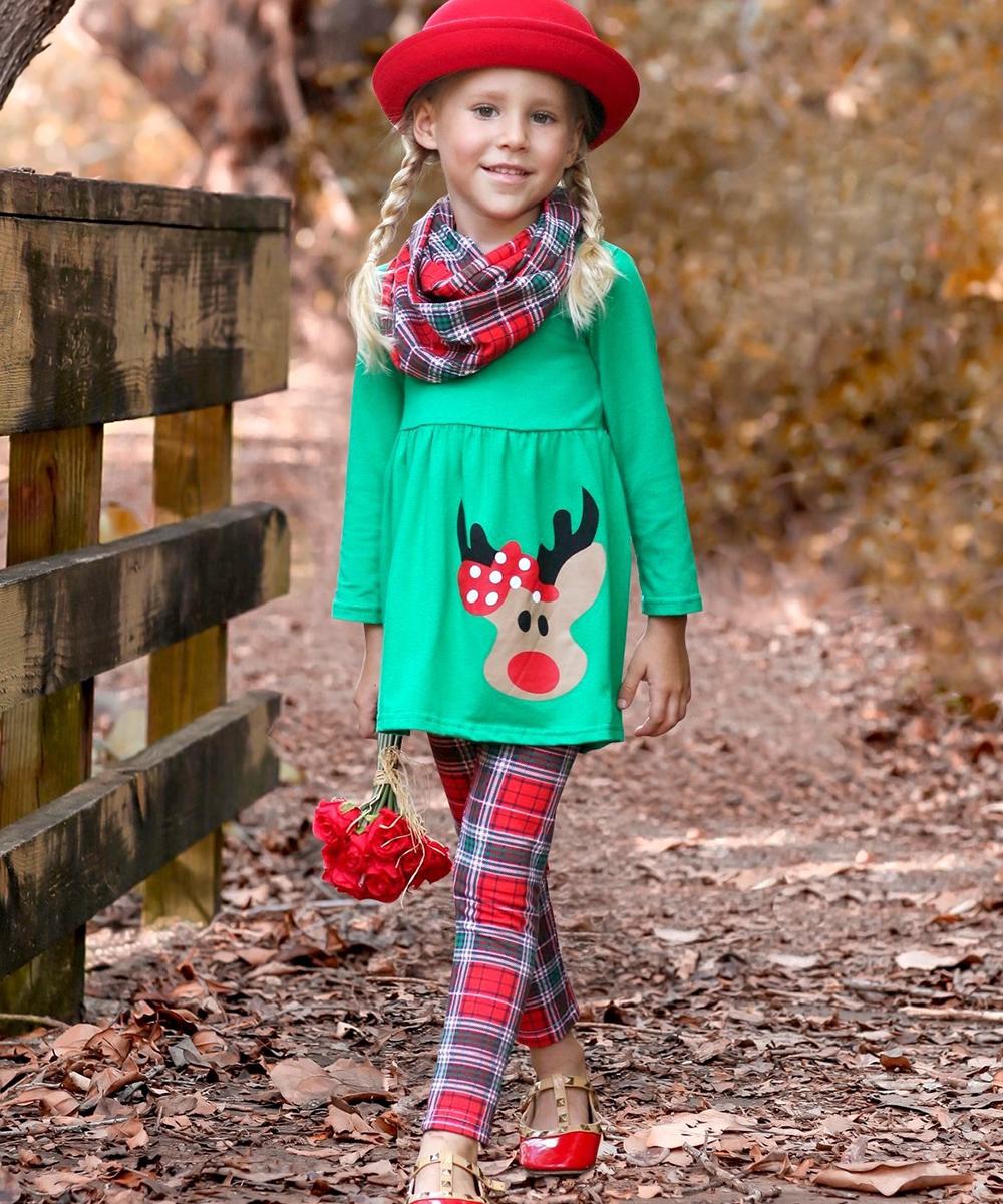1572bfdc9da90 Mia Belle Girls Green Reindeer Tunic Set - Toddler & Girls | Zulily